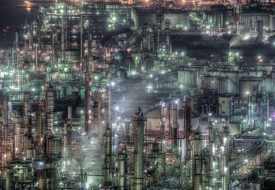 Fali poszter színes gyárépületek mintával gyerekszobába