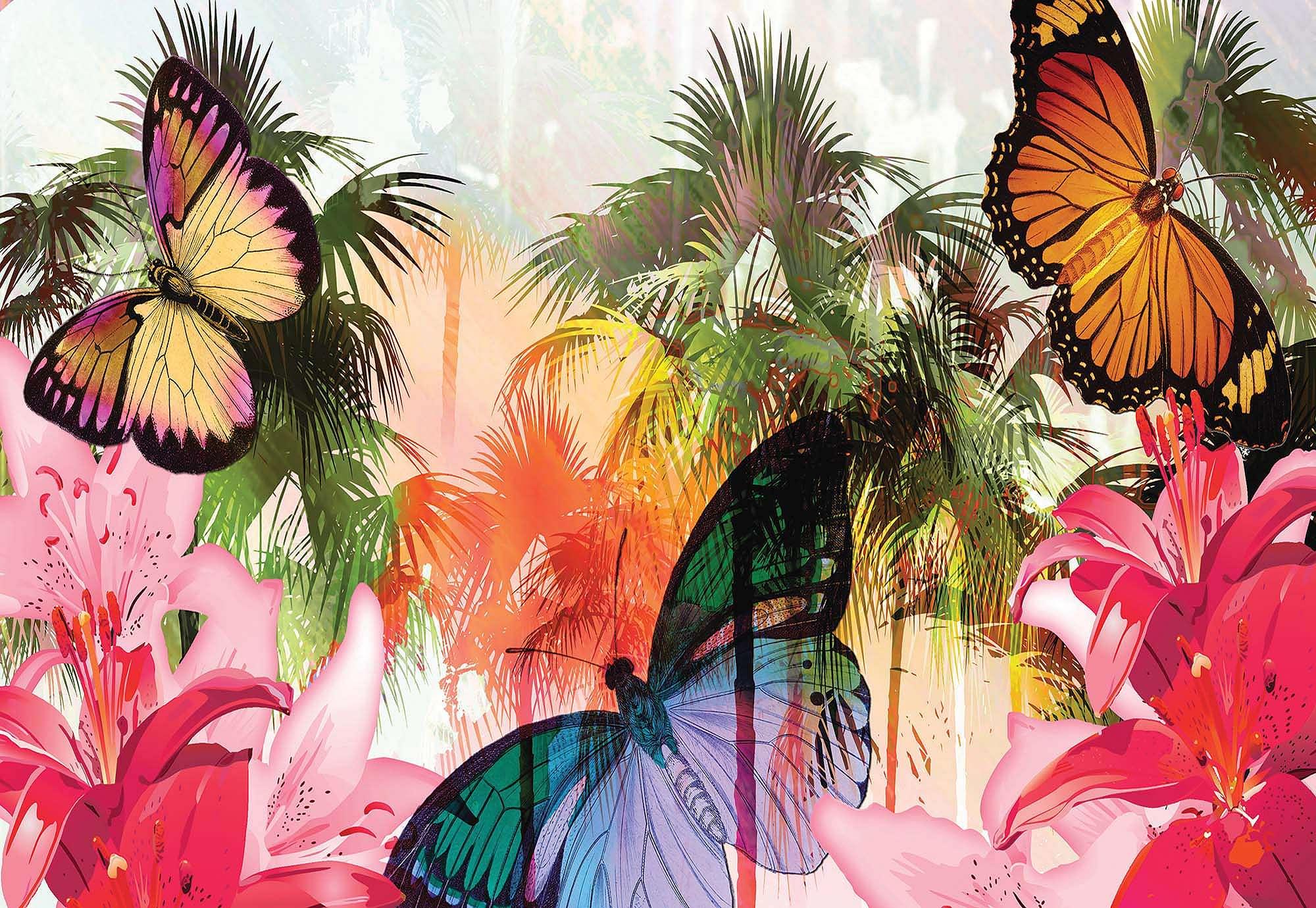 Fali poszter színes pillangó mintával trópusi hangulatban