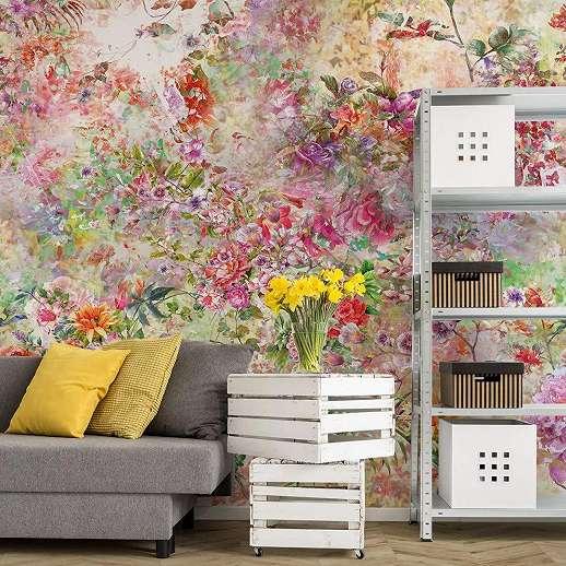 Fali poszter színes romantikus virágokkal