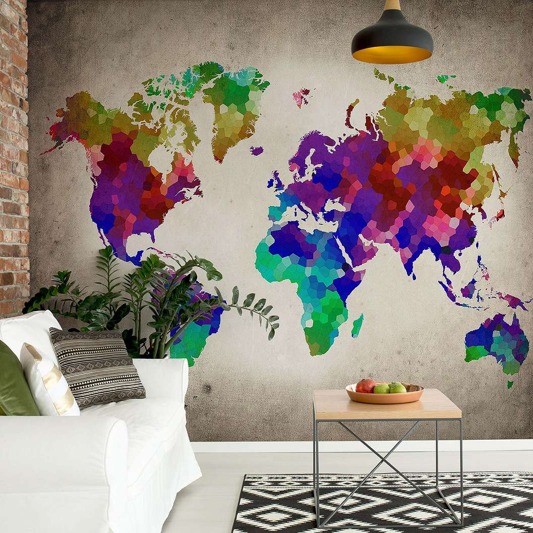 Fali poszter színes világtérkép mintával
