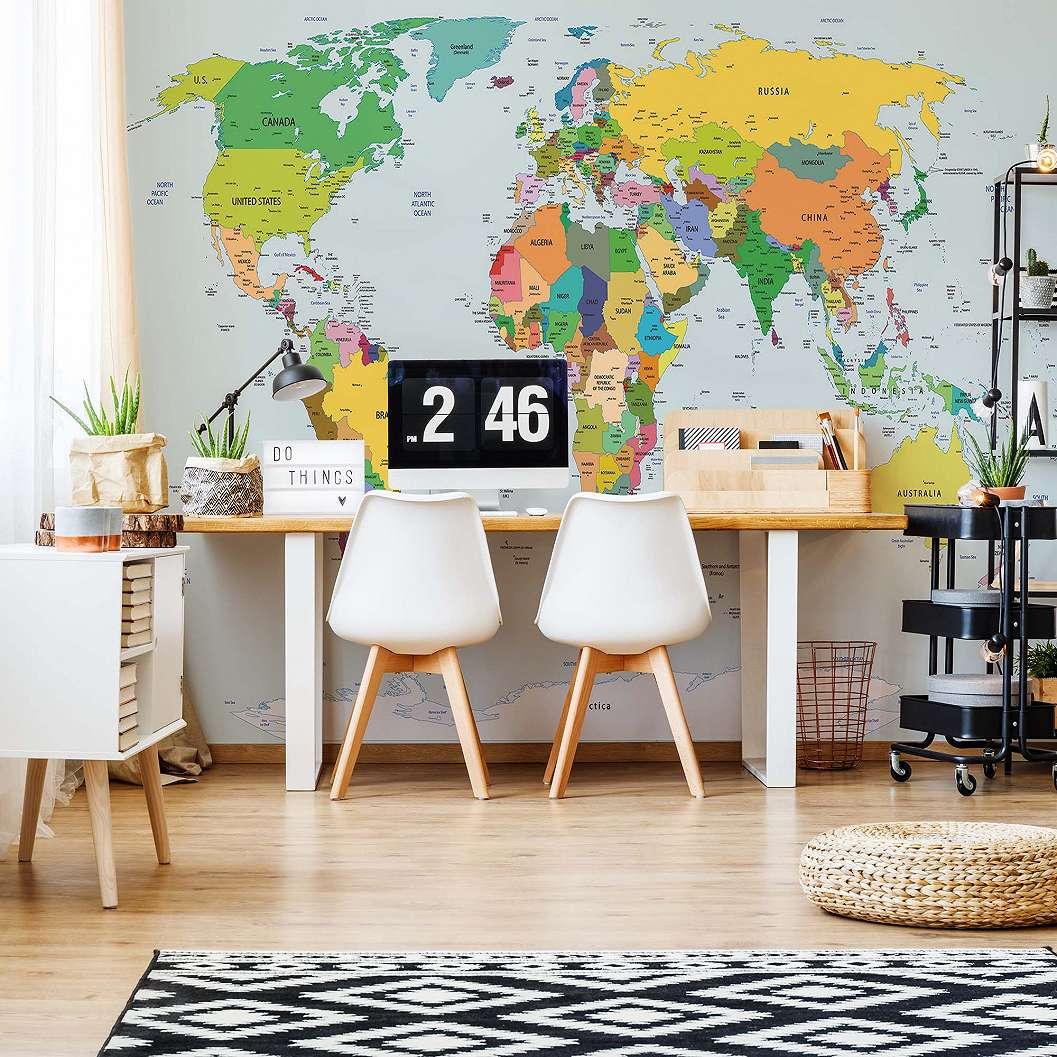 Fali poszter színes világtérkép mintával országokkal