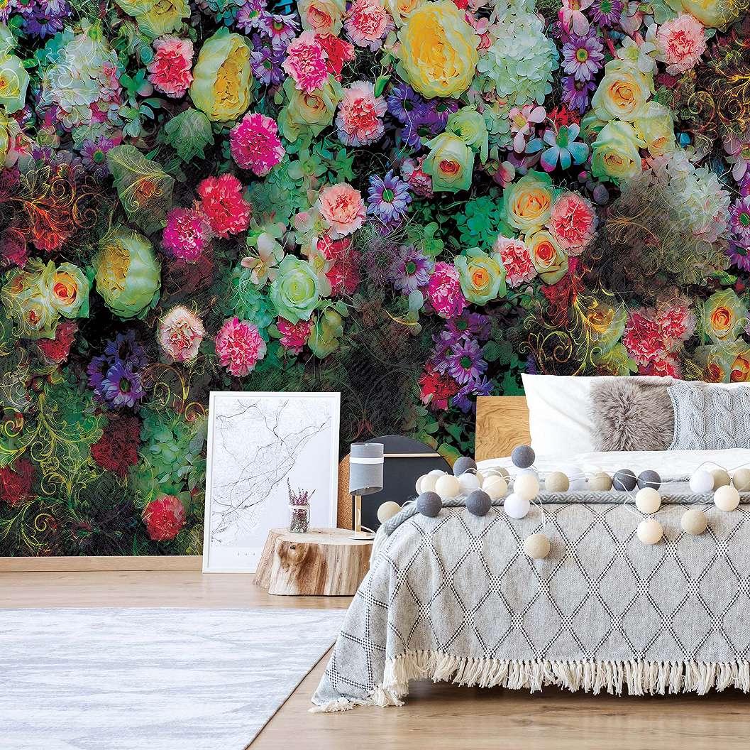 Fali poszter színes virág mintával romantikus hangulatban