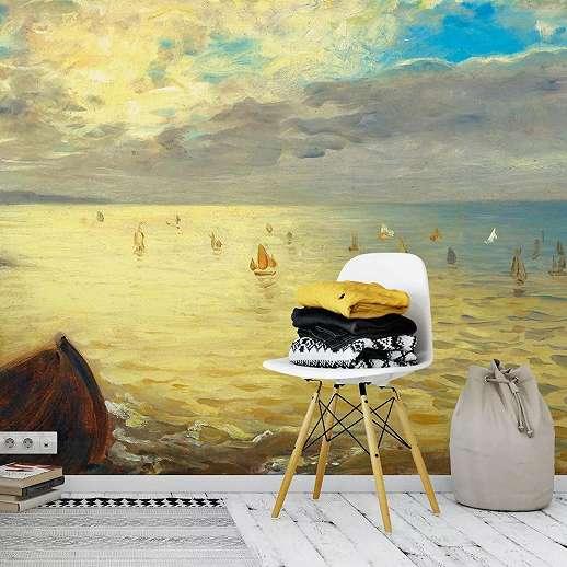 Fali poszter tengeren úszó vitorláskkal festmény hatással