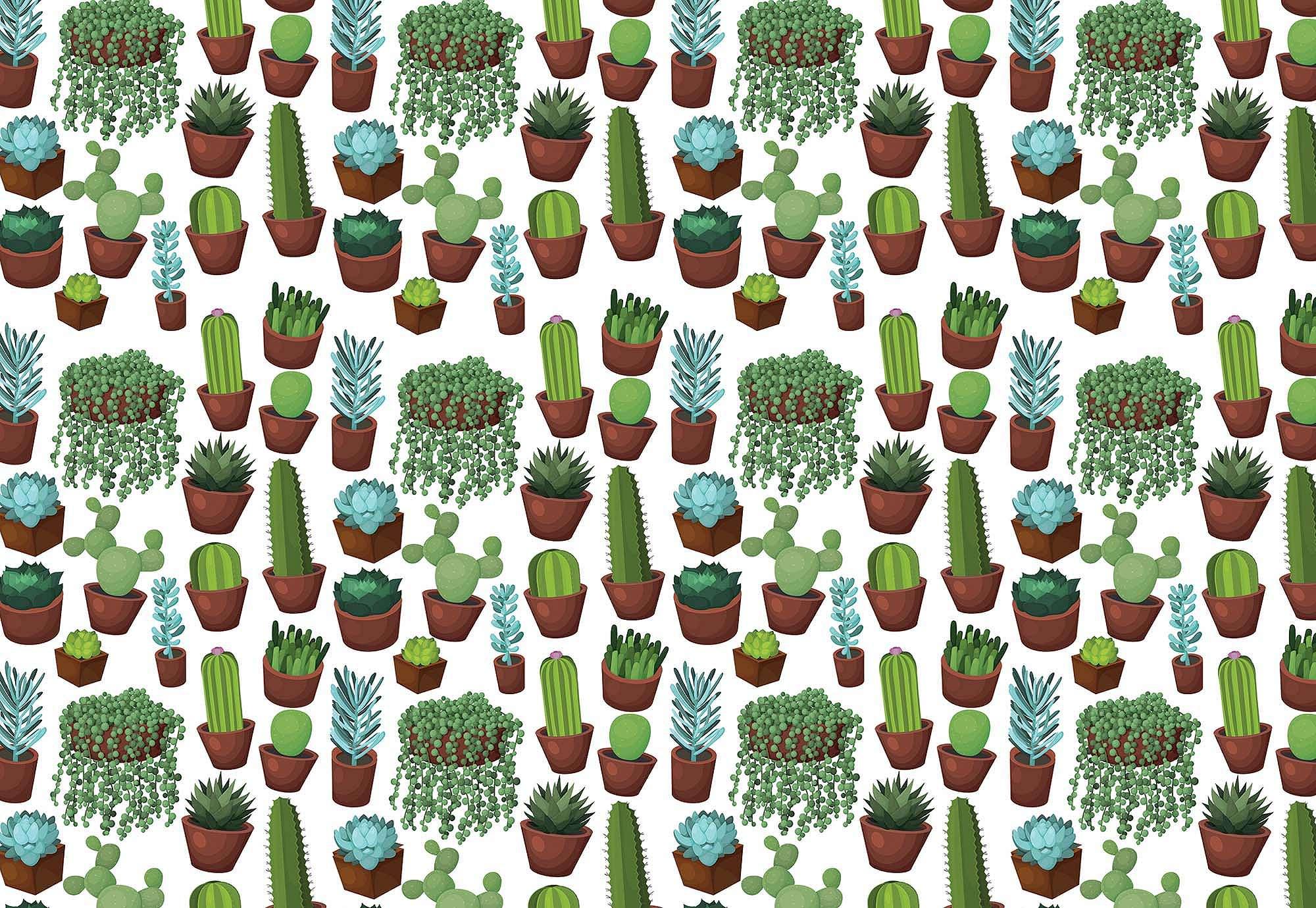 Fali poszter trendi kaktusz mintával zöld színvilágban