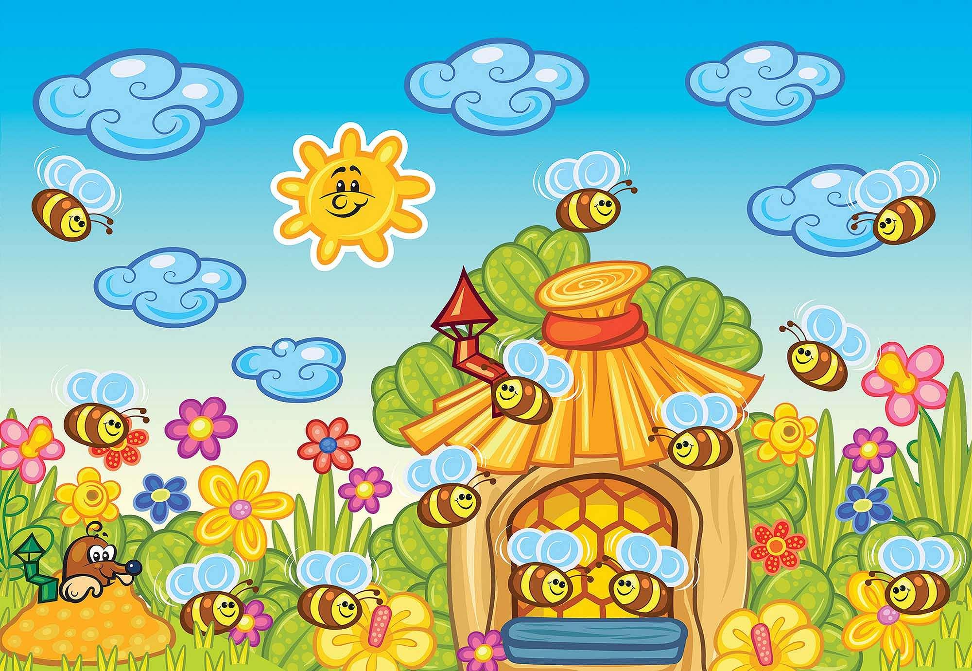 Fali poszter vidám rajzolt méhecske mesefigurákkal gyerekszobába
