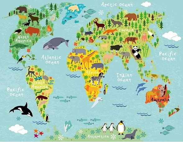 Fali poszter világtérkép és állat mintával