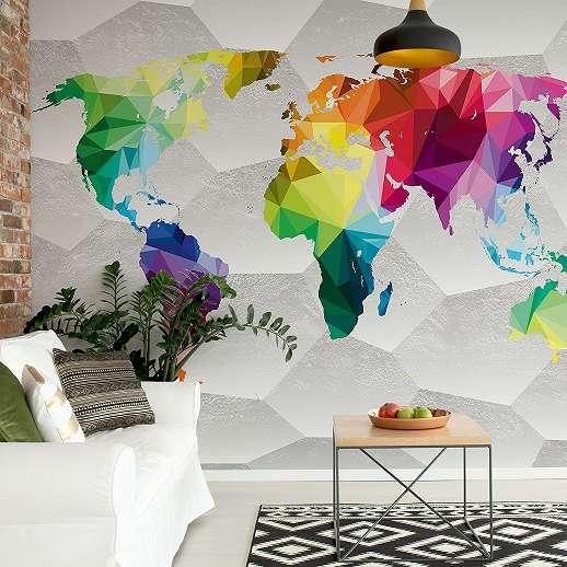 Fali poszter világtérkép mintával modern stílusban