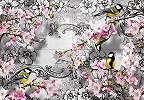 Fali poszter vintage madár, cserrsznyefa virág mintával