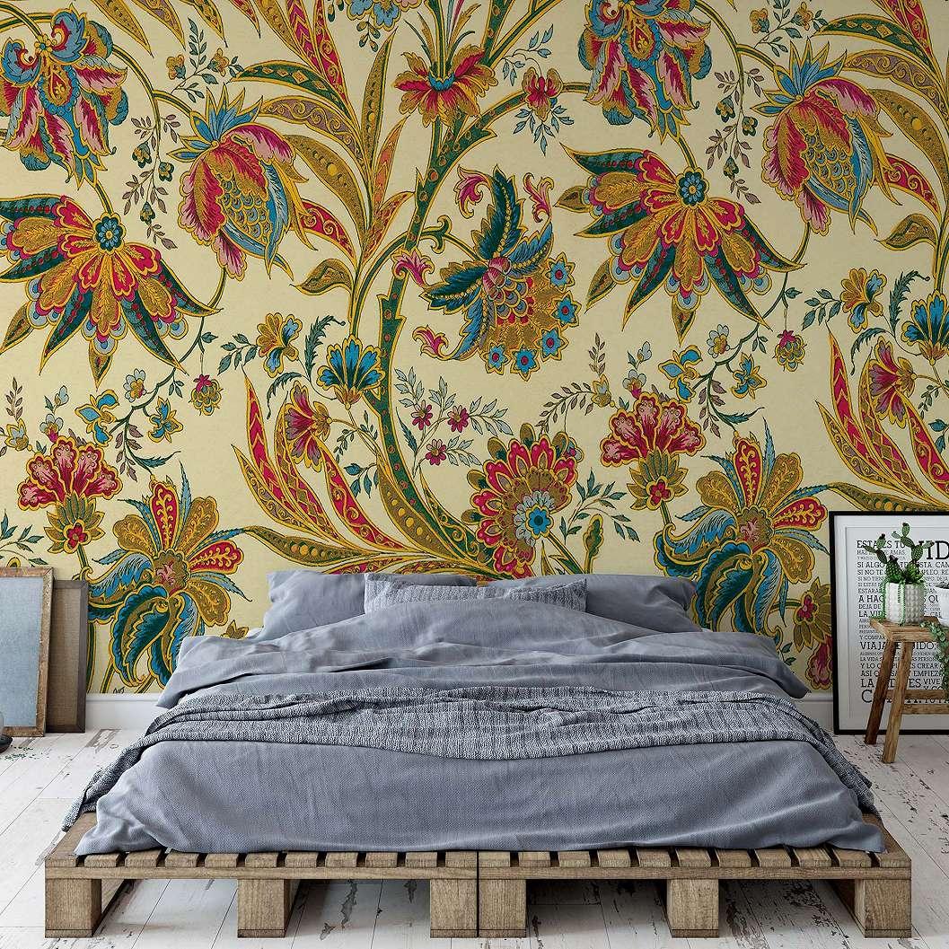 Fali poszter vintage stílusban színes virág mintával