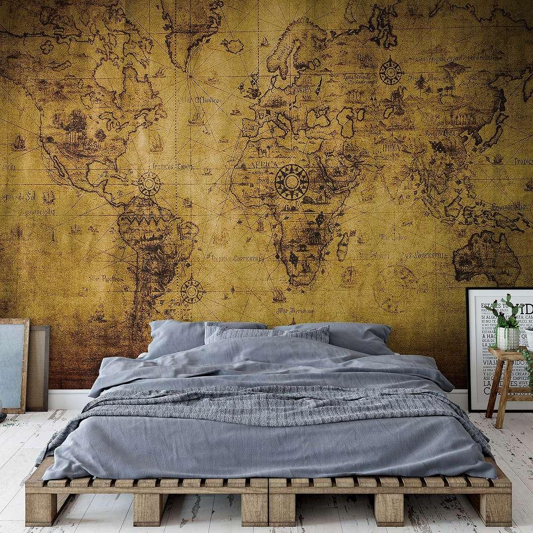 Fali poszter vintage világtérkép mintával