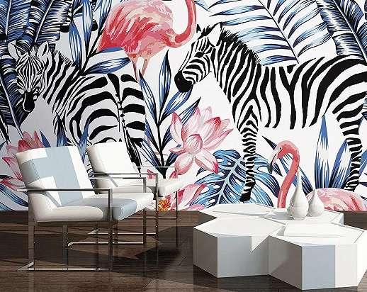 Fali poszter zebra és flamingó mintával akvarell vízfestett stílusban