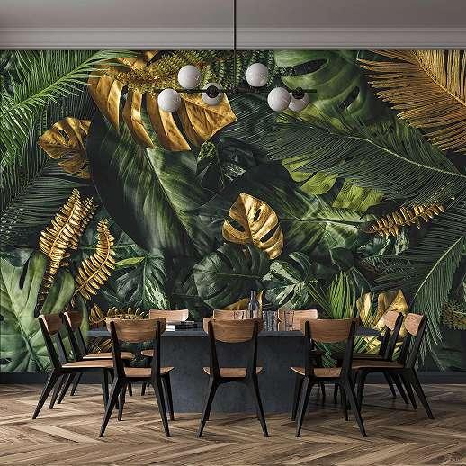 Fali poszter zöld arany modern trópusi levélmintával
