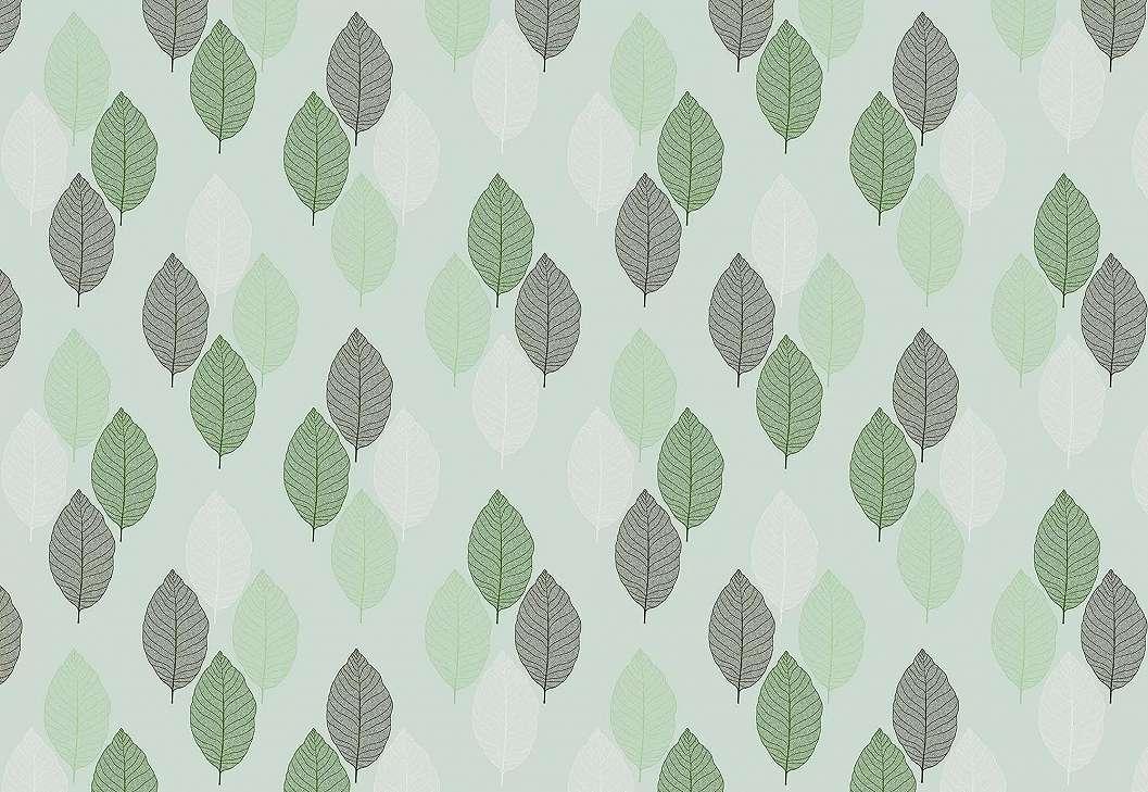 Fali poszter zöld levél mintával skandináv stílusban