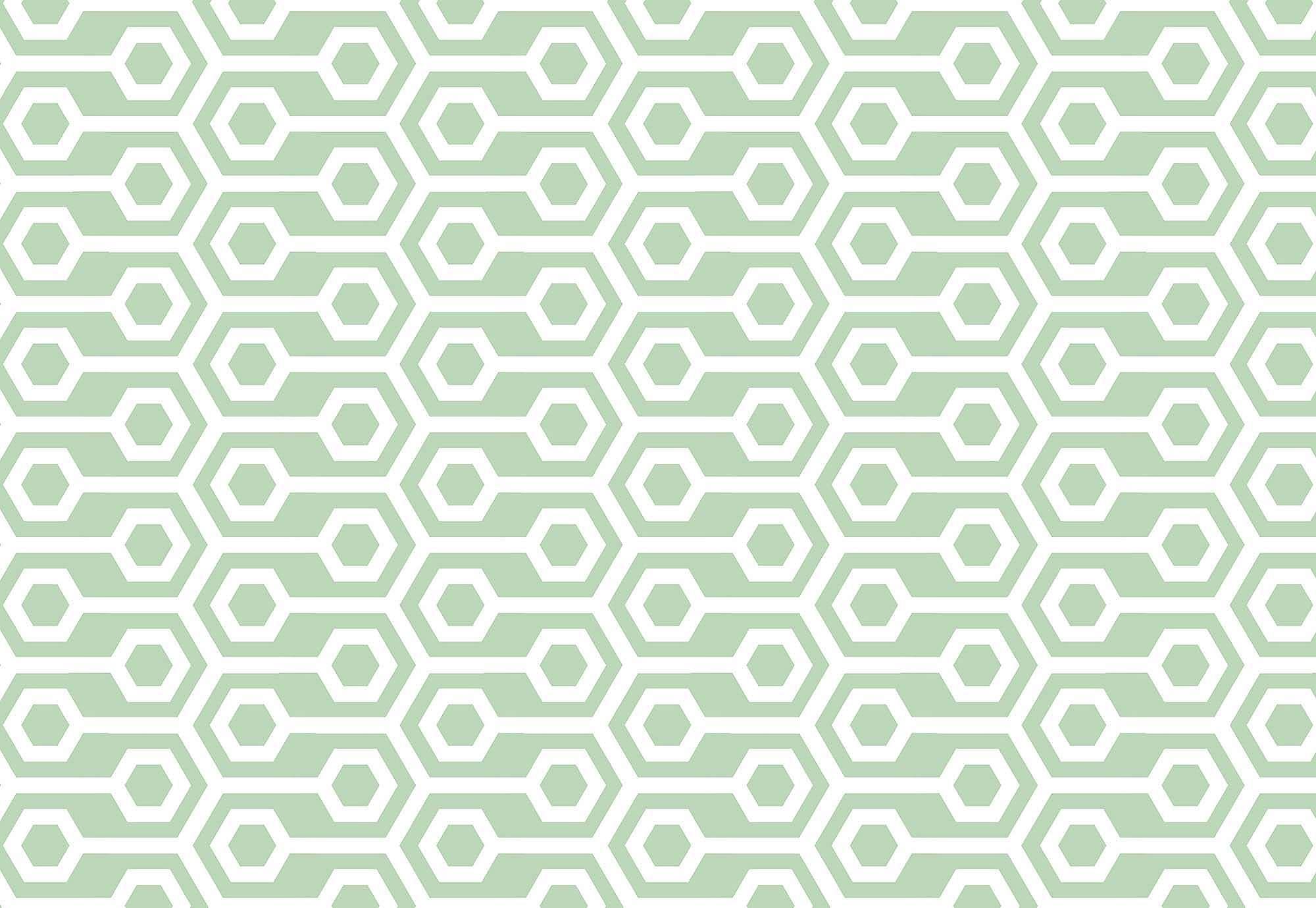 Fali poszter zöld retró geometriai mintával