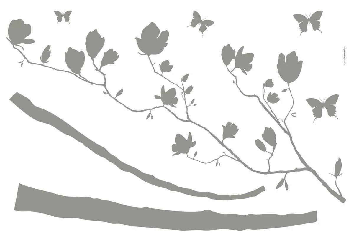 Falmatrica elhajló fa és pillangó mintával