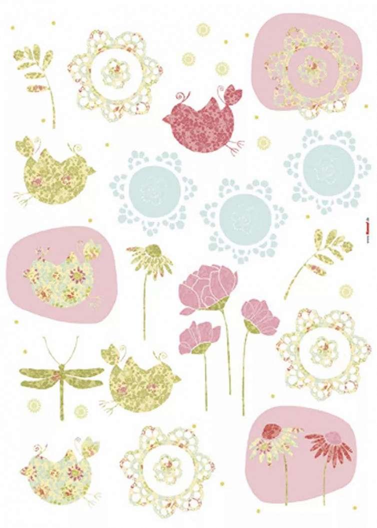Falmatrica vintage hangulatú madár és virág mintával