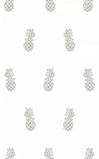 Fehér alapon ezüst ananász mintás vlies design tapéta