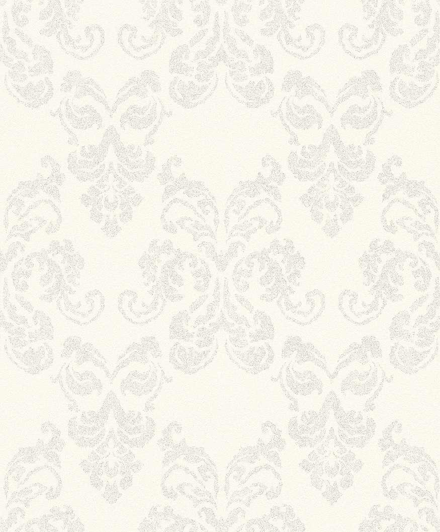 Fehér alapon ezüst barokk mintás tapéta