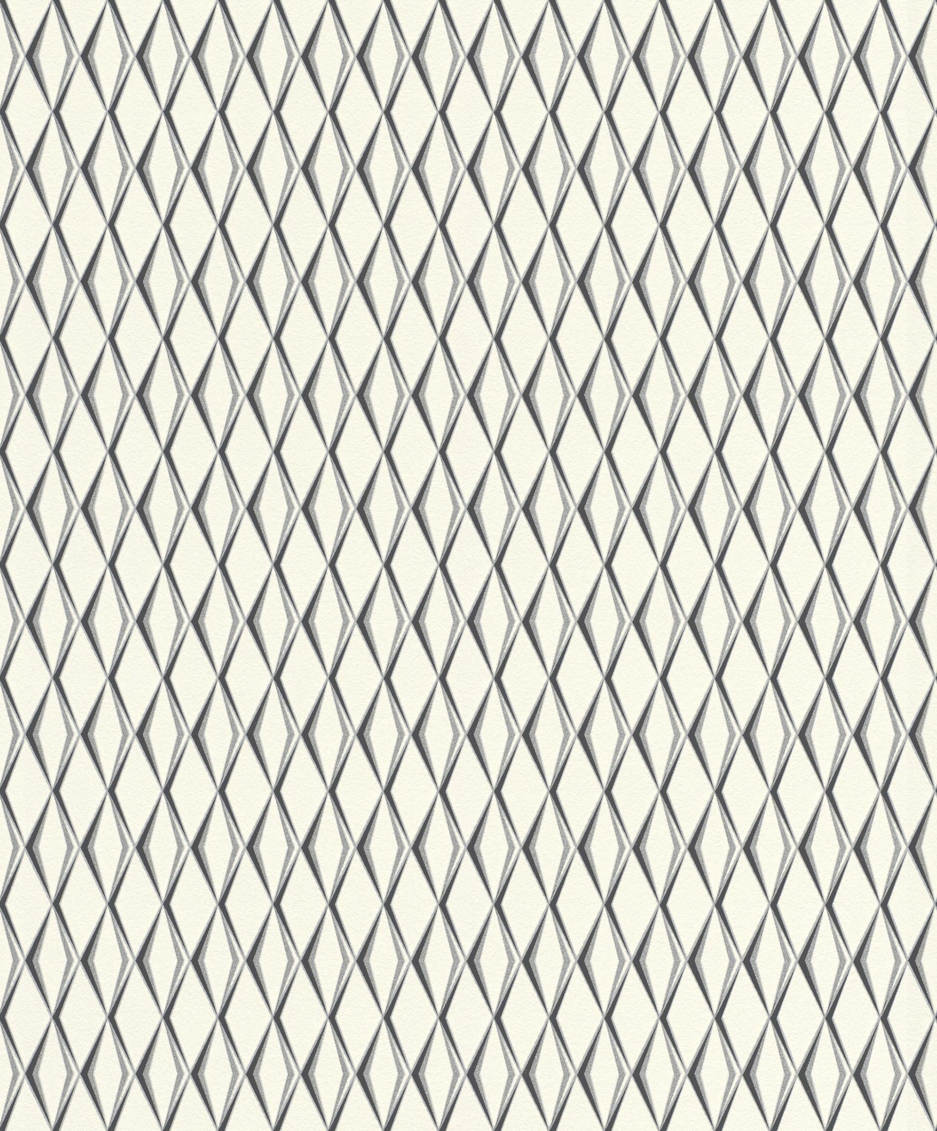 Fehér alapon ezüst fekete geometriai mintás rasch tapéta
