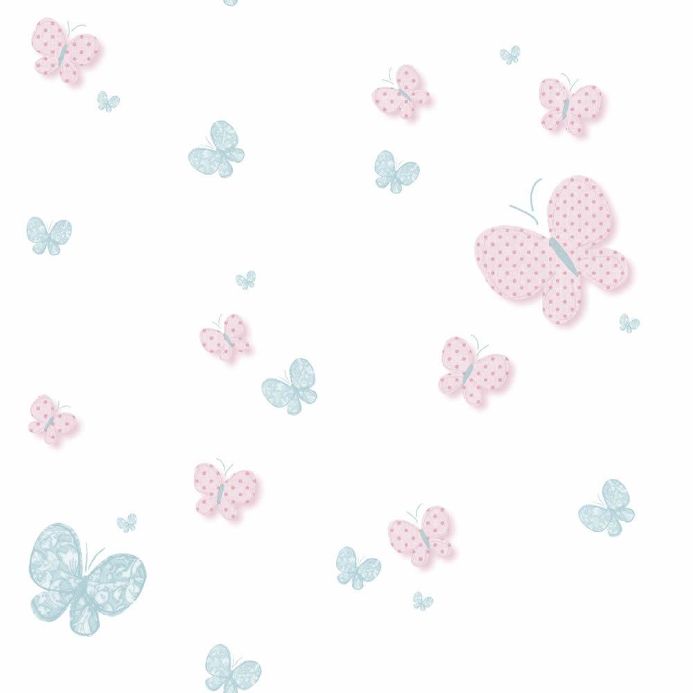 Fehér alapon rózsaszín pillangó, lepke mintás tapéta