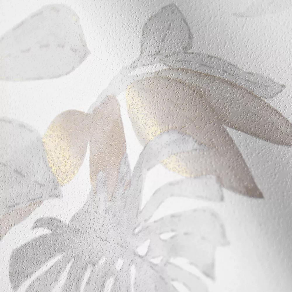 Fehér alapon szürke levél és papagáj mintás vlies tapéta