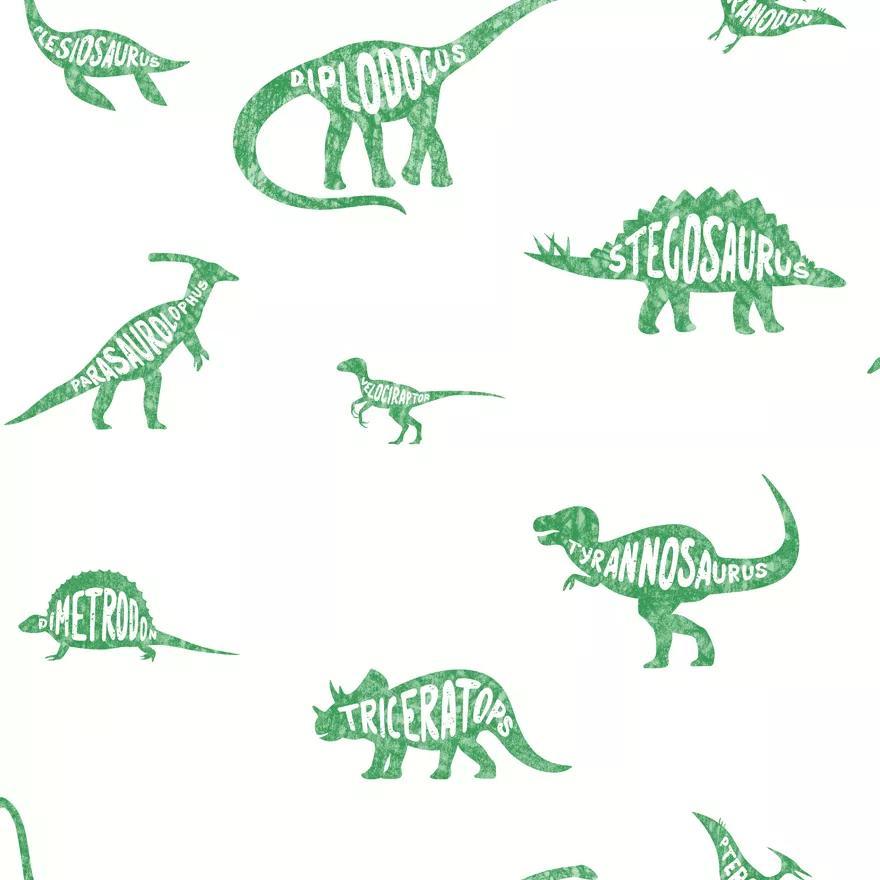 Fehér alapon zöld dinó mintás gyerektapéta