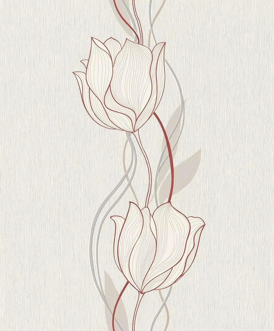 Fehér-bordó rajzolt virágmintás vlies tapéta