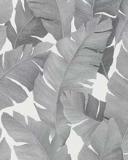 Fehér ezüst banánlevél mintás trópusi hangulatú vlies tapéta fémes hatású mintával
