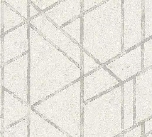 Fehér, ezüst modern geometriai mintás vlies tapéta