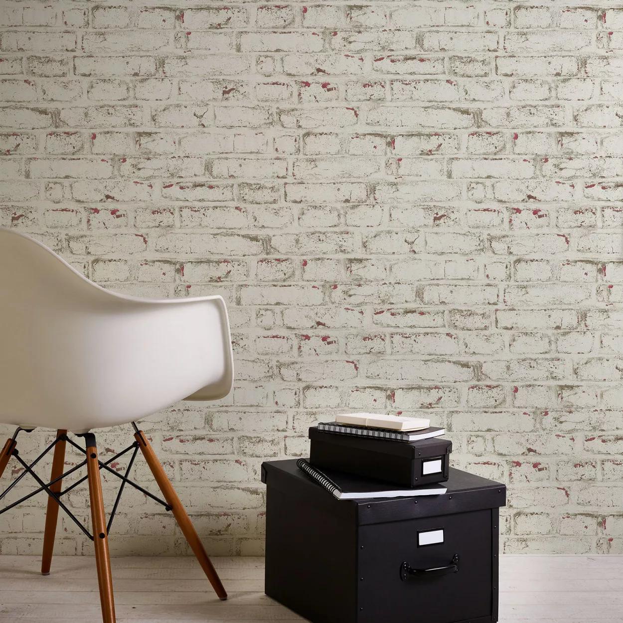 Fehér festett hatású mosható felületű téglamintás tapéta