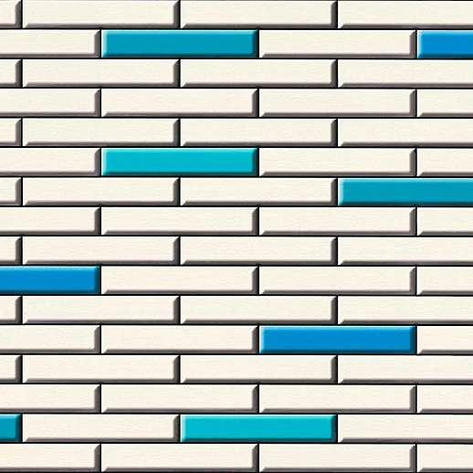 Fehér kék csempe mintás dekor tapéta