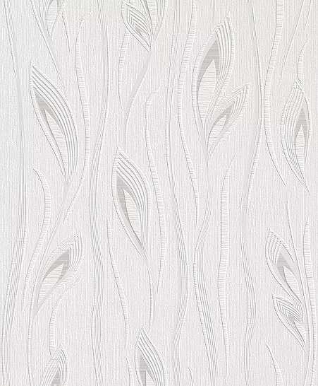 Fehér-krém elegáns inda, levélmintás tapéta