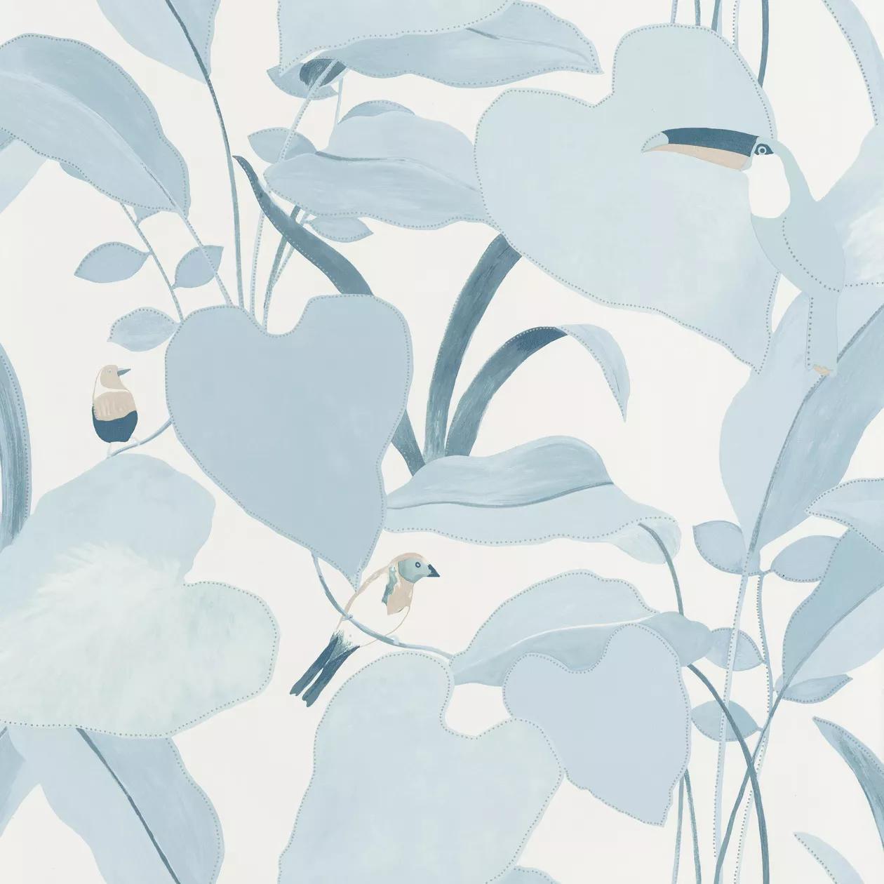 Fehér pasztell kék trópusi levél és tukán madár mintás vlies design tapéta