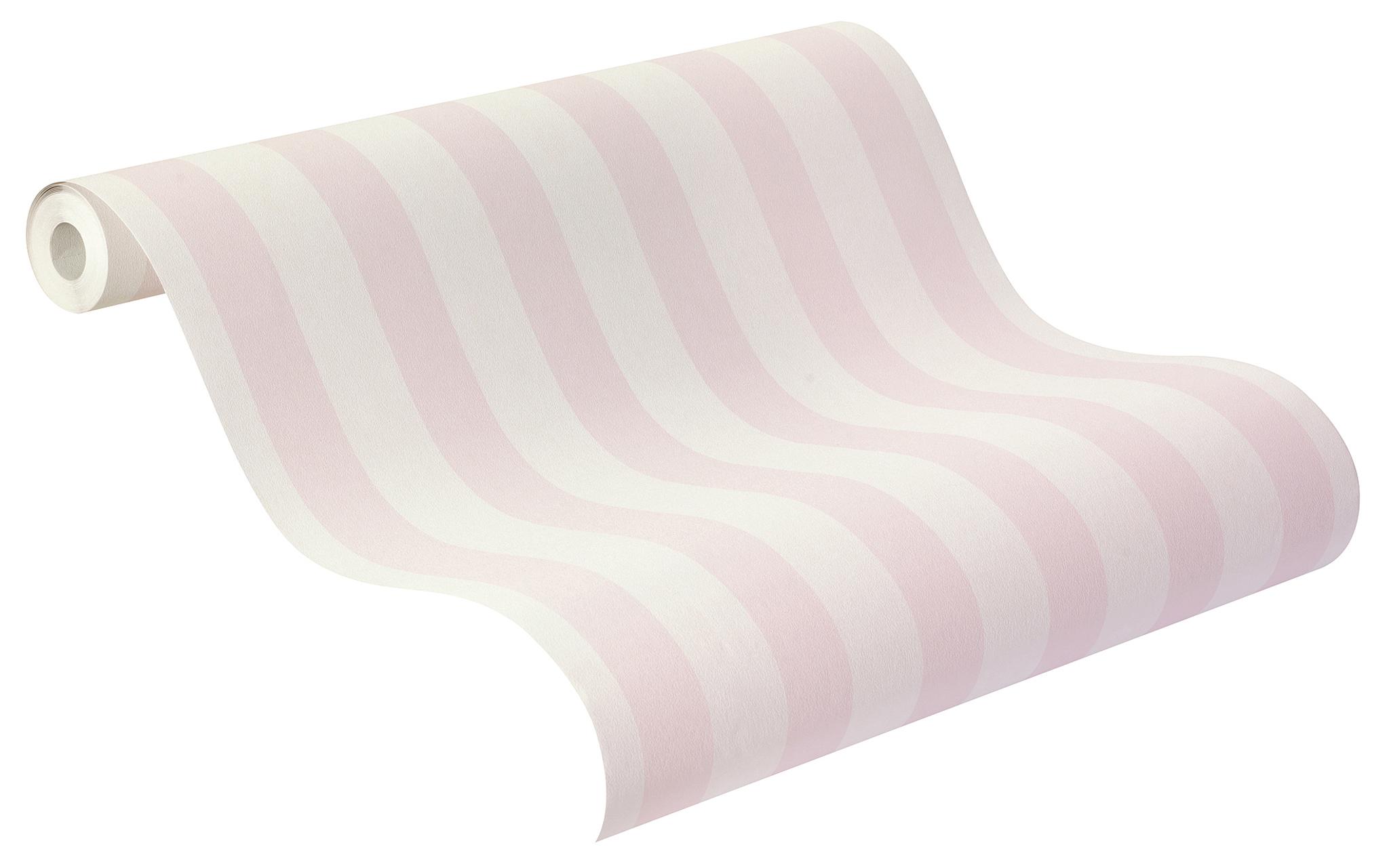 Fehér rózsaszín csíkos tapéta gyerekszobába