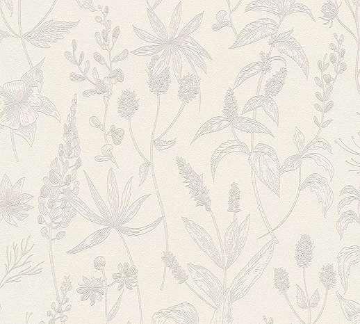 Fehér-rózsaszín provanszi hangulatú virágmintás tapéta