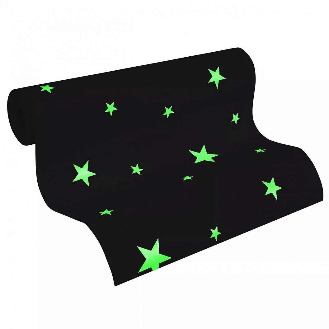 Fehér sötétben foszforeszkáló csillag mintás gyerek tapéta