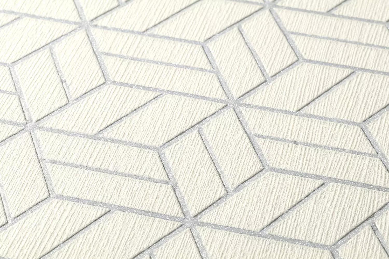 Fehér szürke modern geometriai mintás tapéta habosított felülettel