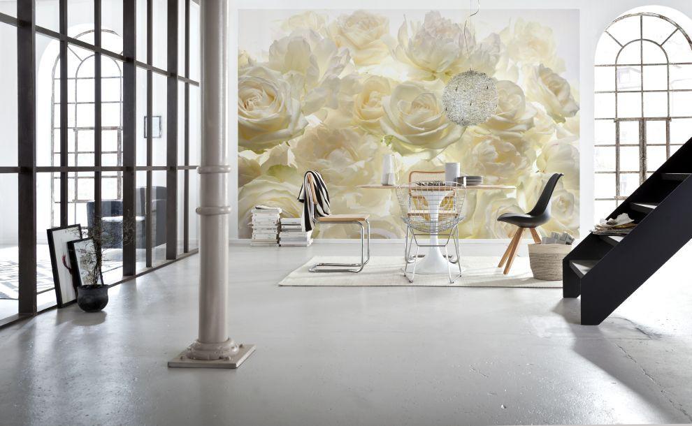 Fehér virágmintás fali poszter