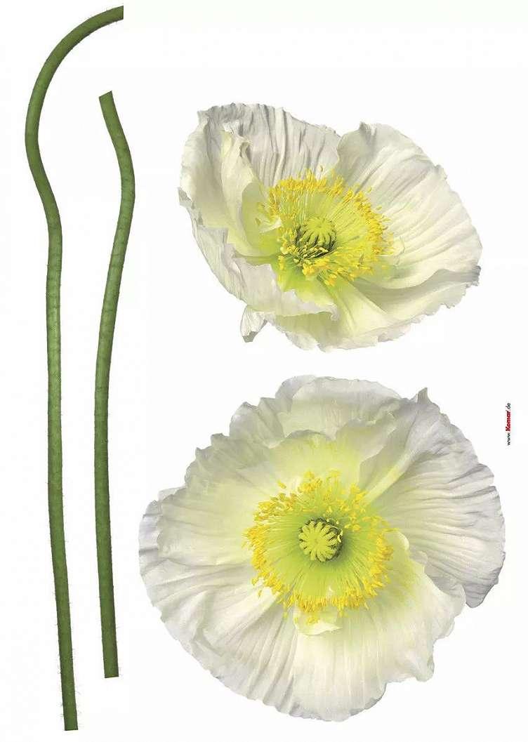 Fehér virágmintás falmatrica