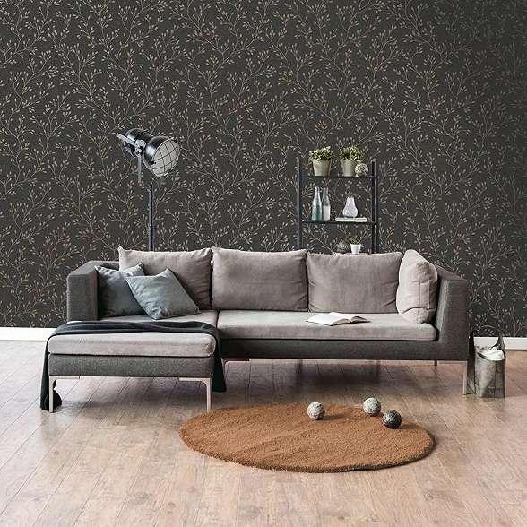 Fekete alapon fényes felületű minimalista faág mintás tapéta