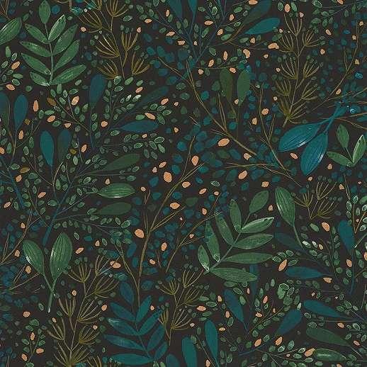 Fekete alapon kék-zöld-arany elegán levélmintás luxus tapéta