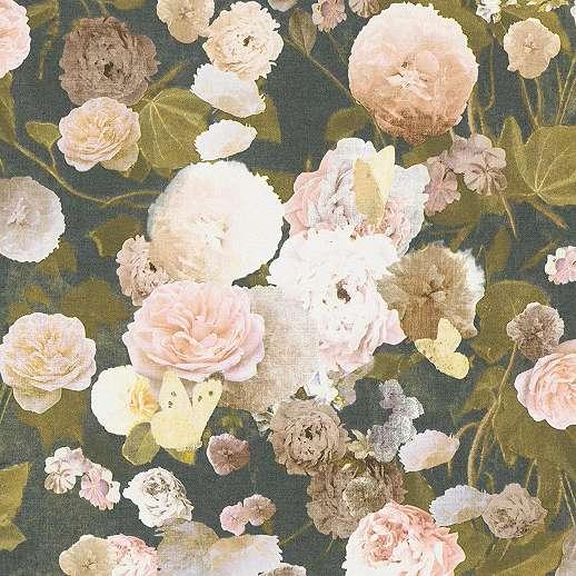 Fekete alapon romantikus vintage hangulatú virágmintás tapéta