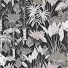 Fekete alapon szürkésbarna dzsungel mintás vlies prémium design tapéta