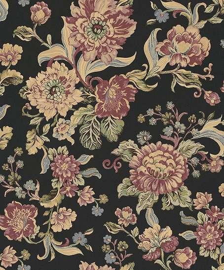 Fekete alapon virágmintás vlies design tapéta