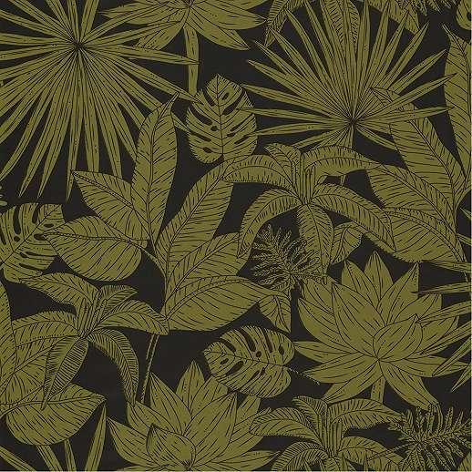 Fekete alapon zöld pálmalevél mintás luxus tapéta