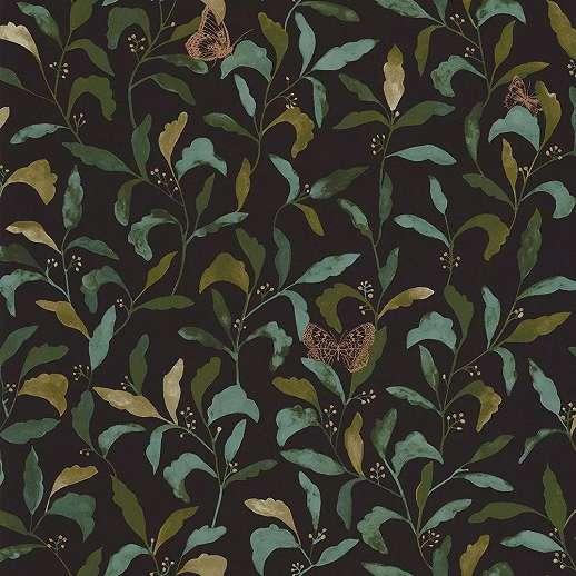 Fekete alapon zöld skandináv stílusú levélmintás design tapéta