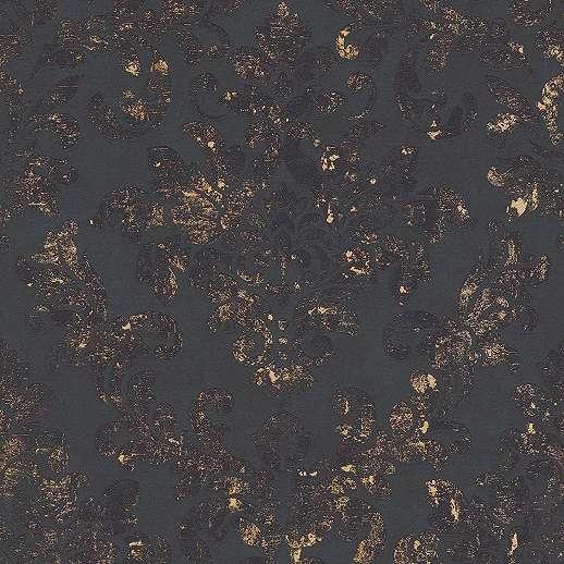 Fekete arany barokk mintás vlies tapéta koptatott hatású barokk mintával