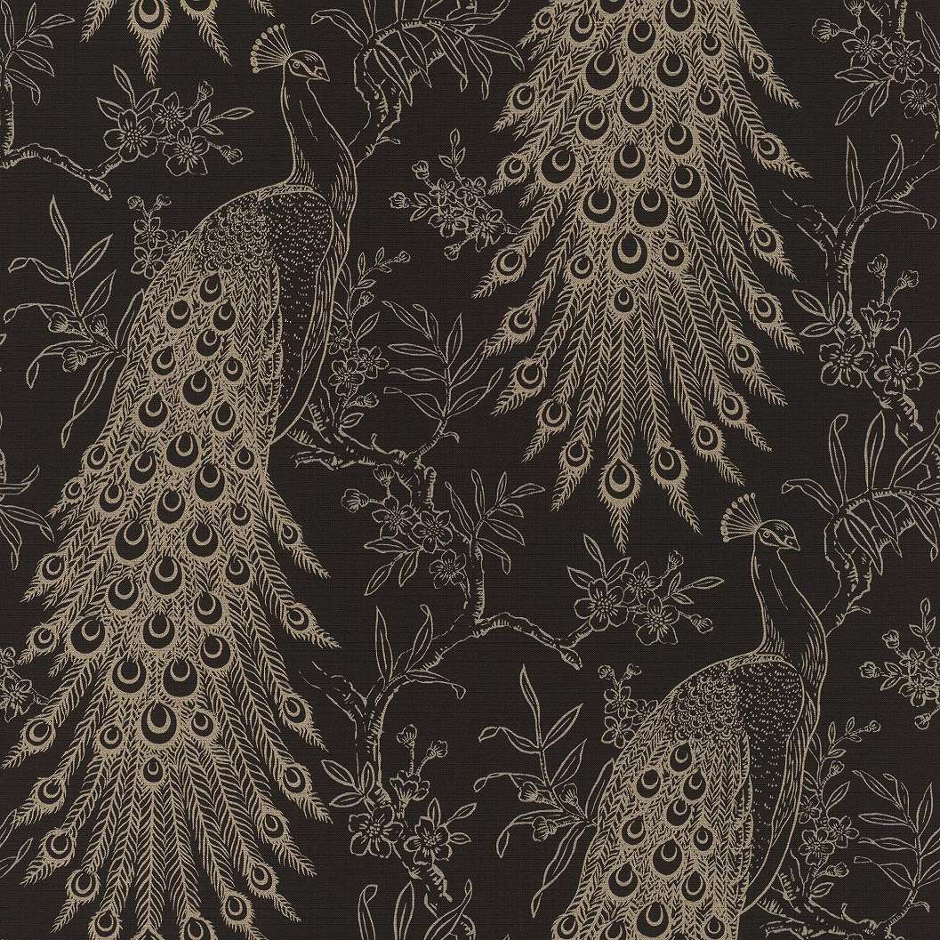 Fekete-arany páva mintás elegáns tapéta