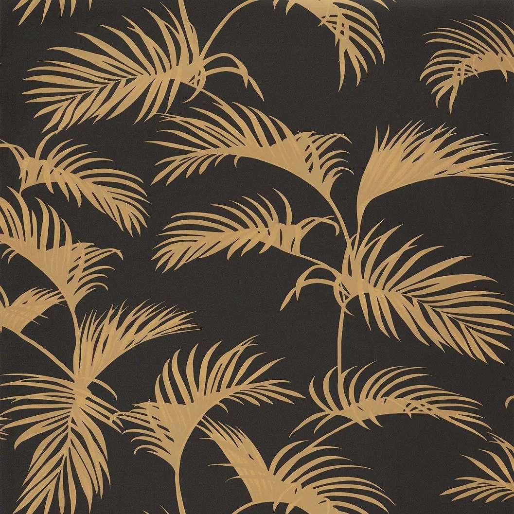 Fekete arany trópusi levél mintás vlies tapéta
