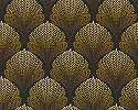 Fekete arany vlies tapéta orientális stílusú kagyló mintával